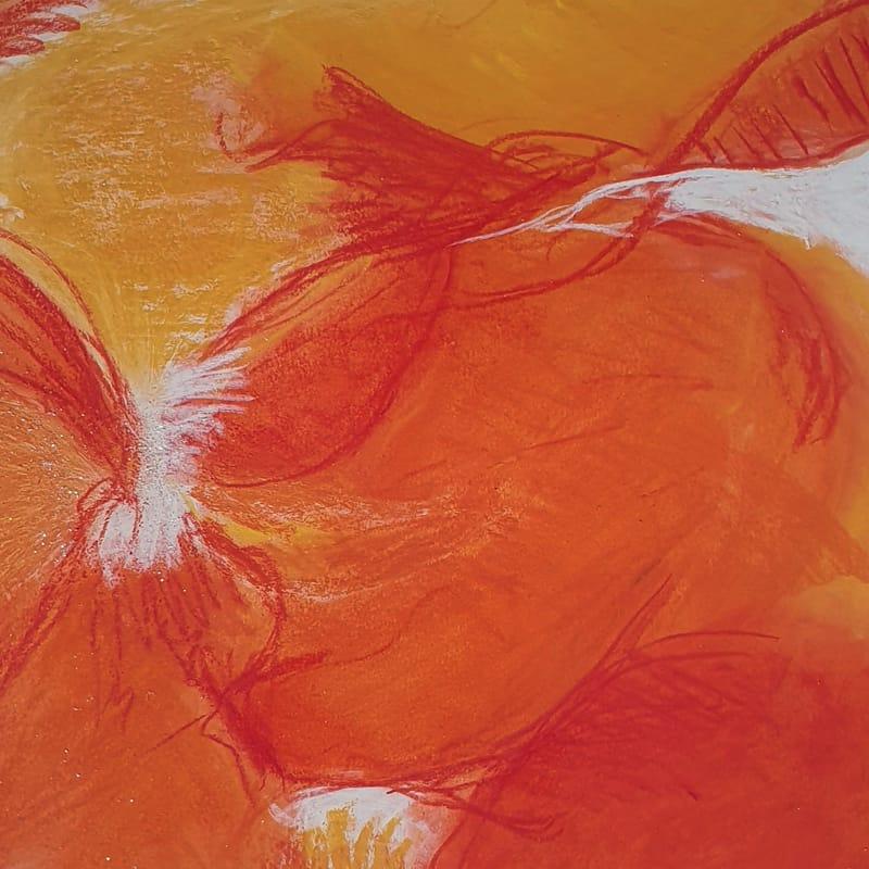 Orange maleri Christa Bundgaard