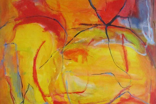 Maleri røde og gule og blå farver